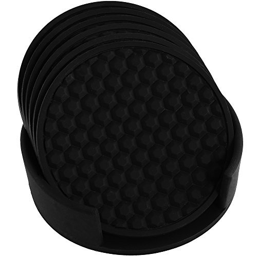 HappyDavid Silicone Cup Mat Drink Coasters Set of 6 with Coaster Holder for Fine Wine, Beer, or Any Beverage.Use on Bars or Fine Furniture in Your Kitchen(black-holder)