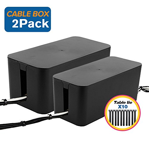 ShellKingdom Cable Management Boxes Organizer,Large Storage Holder for Desk, TV, Computer, USB Hub, System to Cover and Hide & Power Strips & Cords [Set of Two] (Black)
