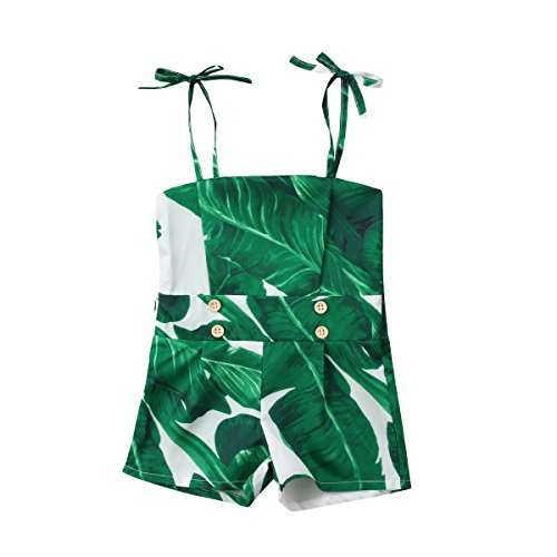 Summer Newborn Baby Girls Cute Strap Off Shoulder Green Red Leaf Romper Jumpsuit Outfit Clothes for $<!--$9.89-->