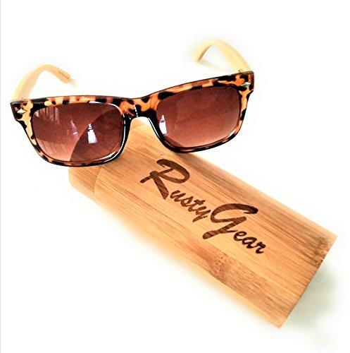 RUSTYGEAR Mens & Womens Tortoise Shell Wayfarer Style Bamboo Wooden Sunglasses + - Sunglasses Tortoise On Shell Men
