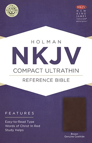 NKJV Compact Ultrathin Bible, Brown Genuine Cowhide