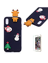 Cute Cartoon Case For iPhone X/iPhone XS,Funyee Stylish 3D Christmas Deer Design Ultra Thin Soft TPU Silicone Case for iPhone X/iPhone XS 5.8 inch,Anti-scratch Rubber Durable Shell Smart Phone Case with Free Screen Protector,Black
