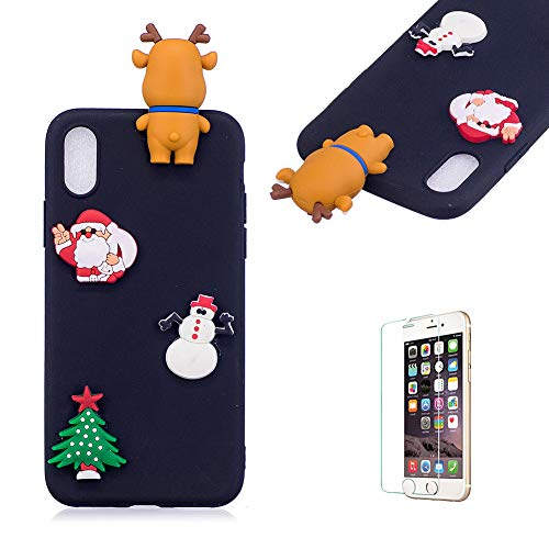 Price comparison product image Cute Cartoon Case For iPhone XR [with Free Screen Protector], Funyee Stylish 3D Christmas Deer Design Ultra Thin Soft TPU Silicone Case for iPhone XR 6.1 inch, Black