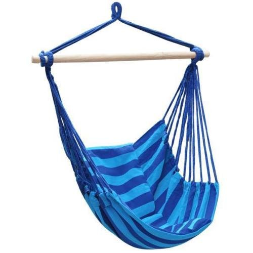 Deluxe Hanging Rope Chair Porch Swing Yard Tree Hammock Cotton Polyester Outdoor - Deluxe Polyester Rope Hammock