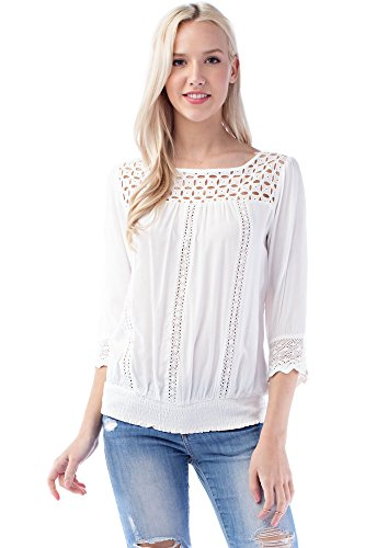 Solitaire Smocked Ladder Lace Blouse (Large) ()