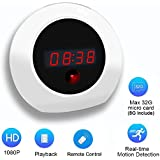 MNGREATS Hidden Camera Alarm Clock HD 1080P Nanny Camera Clock Motion Detection Long Time Loop Recording (8GB SD Card Include)