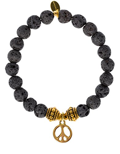 EvaDane Natural Lava Stone Gemstone Rope Bead Peace Sign Charm Stretch Bracelet - Size 7 Inch ( 1_BLV_G_R_PEA_7)