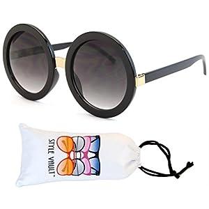 V3052-VP Style Vault Crazy Round Oversized Sunglasses (S2183V Black-smoked)