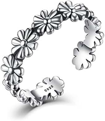 WOSTU Vintage 925 Sterling Silver Sunflower Filigree Adjustable Rings for Women Girls
