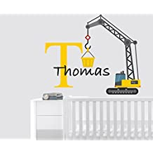 """Custom Name Truck Builder - Best Seller Series - Baby Boy Decoration - Mural Wall Decal Sticker For Home Interior Decoration Car Laptop (AM) (Wide 30"""" x 25"""" Height)"""