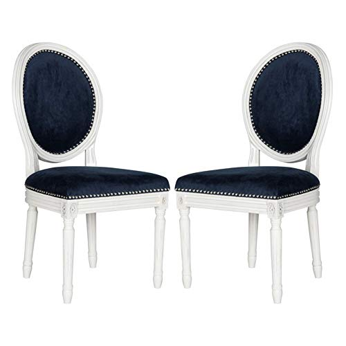 Safavieh Home Collection Holloway French Brasserie Navy Velvet & Cream Oval Side Chair (Set of 2), 19