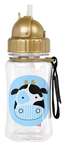 Skip Hop Zoo Straw Bottle, Holds 12 oz, Cheddar Cow