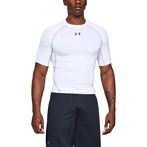(Under Armour mens HeatGear Armour Short Sleeve Compression T-Shirt, White (100)/Graphite, Large)