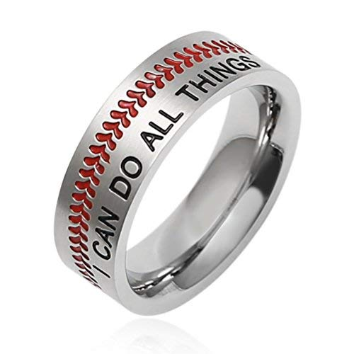 HZMAN Baseball Ring with Red Stitching, I CAN DO All Things Strength Bible Verse Stainless Steel 7mm Rings (5) -