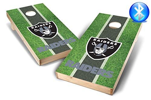 PROLINE NFL 2'x4' Cornhole Set with Bluetooth Speakers - Field Design, Team Color, 2' x 4', Oakland Raiders