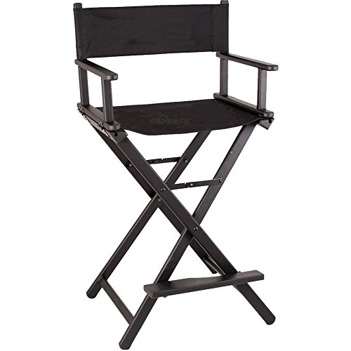 Sunrise Barnaba Lightweight Aluminum Tall Portable Director Makeup Artist Chair, Black, 12 Pound