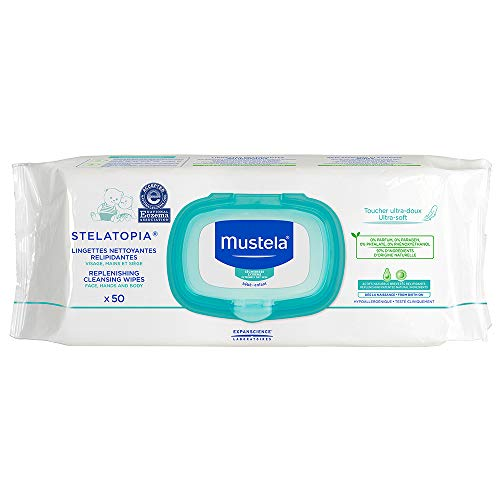 Mustela Stelatopia Replenishing Cleansing Wipes, Unscented Baby Wipes for Eczema Prone Skin, Gentle, Ultra Soft and Tear Resistant, with Natural Avocado Perseose, (50 Count)