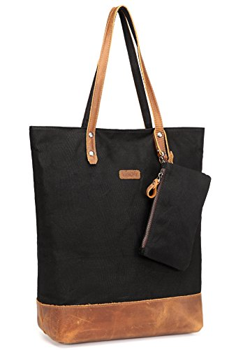 Leather Canvas Tote,vaschy Water Resistant Vintage Large Shopper Work Bag For Women