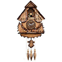 GWFVA Cuckoo Clock Genuine Wood - Quartz Movement - Cuckoo Call and Musical Movement, Chalet Style - Dancers,Romannumerals