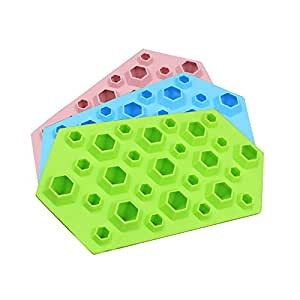Riverbyland Silicone Ice Cube Trays 27 cubes Assorted Colors Set of 3