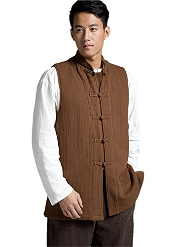 Roberoody Handsome Men's Vintage Cotton Vest Winter Outwear Jacket Original Design CoffeeMedium by Roberoody Novelty-outerwear-jackets