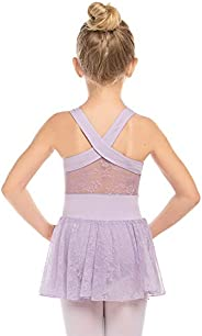 Zaclotre Girls Cross Back Lace Skirted Sleeveless Ballet Dance Tutu Dress Leotard