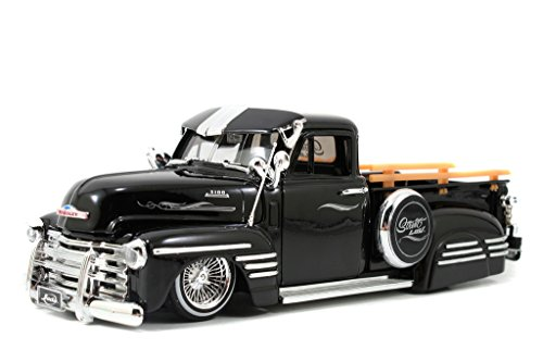 1951 Chevy Pick Up Truck w/ wired wheels 1/24 Black - Antique Toy Trucks - Jada Toys Diecast