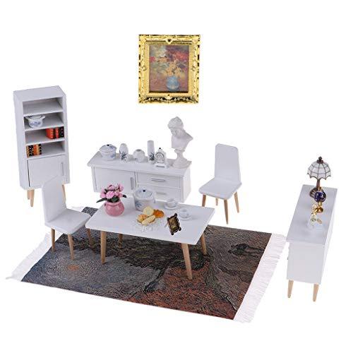 - NATFUR 1/12 Table Chair Cabinet Tea Pot Mural Rug for Dollhouse Living Room Bedroom