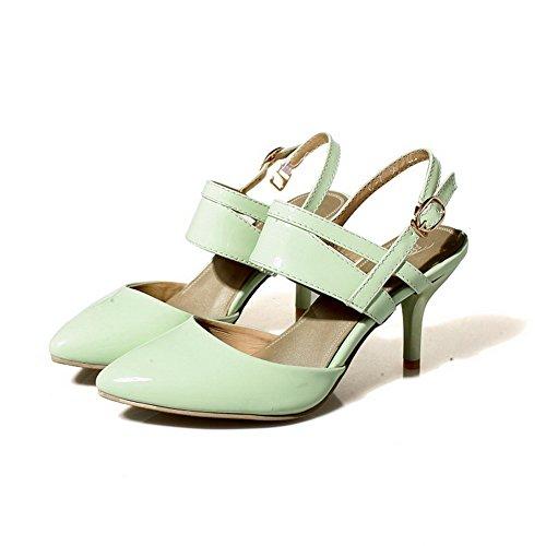 AllhqFashion Mujeres Tacón de aguja Sólido Hebilla Sandalias de vestir con Metal Verde