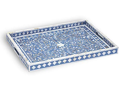 (Handmade Mother of Pearl Inlay Floral Design Rectangular Tray in Sapphire)
