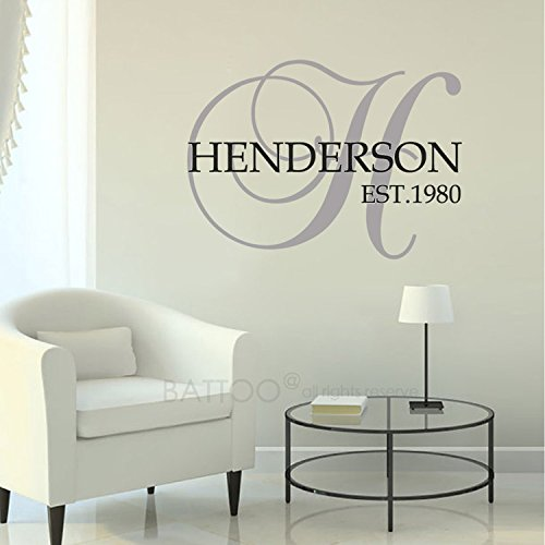BATTOO Personalized Family Name Wall Decal with Established Date Monogram Vinyl Decal, 22