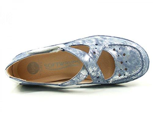Softwaves 4-69-04 Schuhe Damen Ballerinas Halbschuhe, Schuhgröße:41;Farbe:Blau