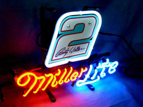 "Queen Sense 14""x10"" Miller Lite Autographed Nascar #2 Neon Sign Light Beer Bar Pub Man Cave Real Glass Lamp DE46"