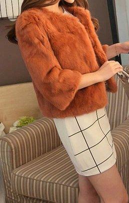 fourrure rex femmes court de manteau Helan reel lapin Champagne qt0wFdx