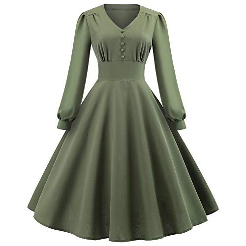 Armoire Cotton (kaifongfu V-Neck Women Gown Dress Solid Color Vintage Ball Gown Dress(Green,XXL))