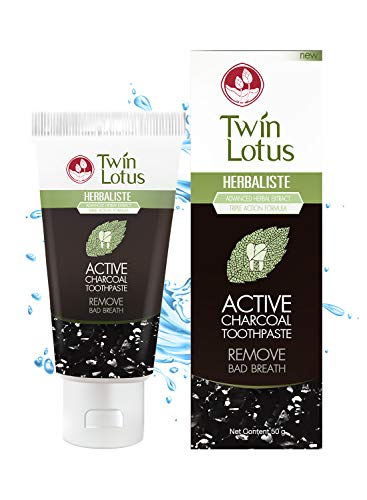 Twin Lotus Activated Charcoal by Twin Lotus Toothpaste | Free Fluoride SLS Activated Coconut Charcoal Teeth Whitening& Eliminate Bad Breath| Toothpaste 50g