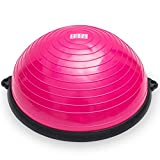 BodyRock Half Ball Balance Trainer: Stability and Fitness Half Moon Balancing Ball with Pump to Improve Core and Ab Strength - Exercise Equipment for Home Gym Workout, Yoga and Full Body (PINK)
