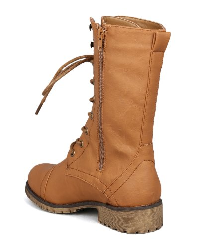 Nature Breeze Lug-11 Leatherette Lace Up Military Boot AB55 - Tan Leatherette