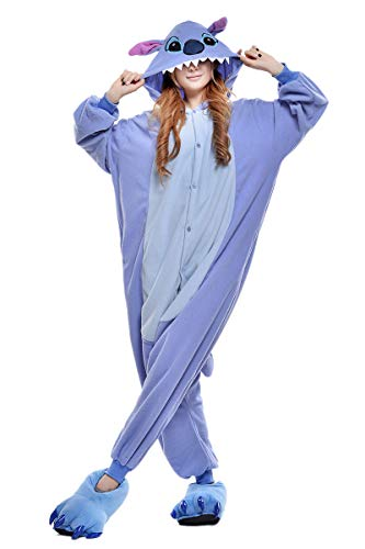 (Cokle Adult Cartoon Pajamas One Piece Sleepsuit Hooded Lounge Sleepwear Animal Costumes Blue Stitch)