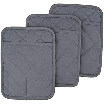 RED LMLDETA Pot Holders Set of 3 Non Slip Silicone Kitchen Lines Heat Resistant 500℉ Kitchen Gloves BBQ Cooking Baking Women Men Cooking Barbecue Microwave Machine Washable (Gray Potholders)