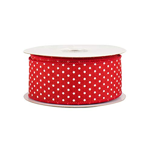 - Red Swiss Dots Wired Ribbon - 1 1/2
