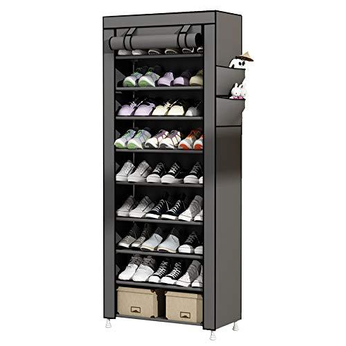 UDEAR Rangement Armoire étagères à Chaussures 10 Couches Meubles à Chaussures avec Housse Gris