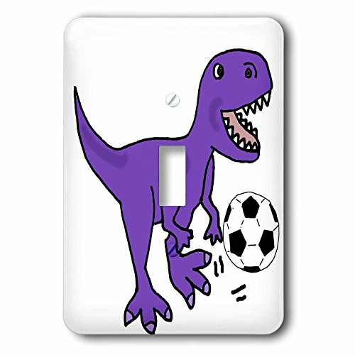 3dRose All Smiles Art Sports and Hobbies - Funny Cute Purple T-rex Dinosaur Playing Soccer Cartoon - Light Switch Covers - single toggle switch (lsp_263741_1) (Cartoon Feet)