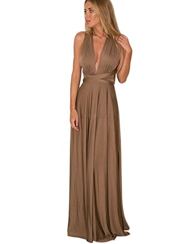 Multi Longue Party Cocktail Portefeuille Robe Elegante Soirée De Maxi porter Brun Satin PZOXiwkTul