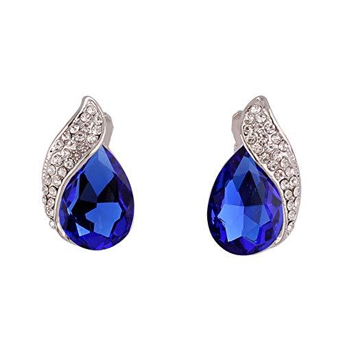 (HAPPYAN High-grade Rhinestone Crystal Clip on Earrings No Pierced for Women Party Wedding Ear Clip (Silver-Navy Blue))