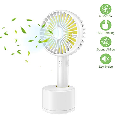 GUSGU Mini Handheld Fan, Portable Personal Fan with Removable Aroma Diffuser Features Oscillating USB Rechargeable Battery Operated Mini Fan for Travel/Workout/Offices/Sleep(5 Speed Adjustable)