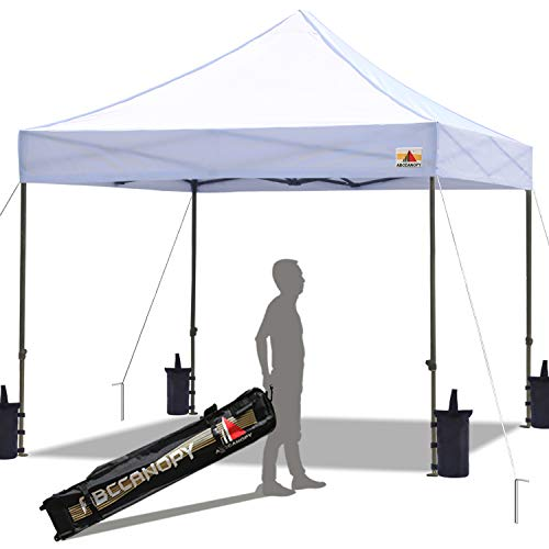 ABCCANOPY Pop up Canopy Tent Commercial Instant Shelter with Wheeled Carry Bag, Bonus 4 Canopy Sand Bags, 10x10 FT White (Best Pop Up Shade Canopy)