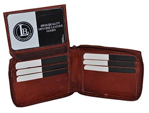 Leatherboss Men's All Around Zipper Bifold Wallet with Flip up Id - Brown 4