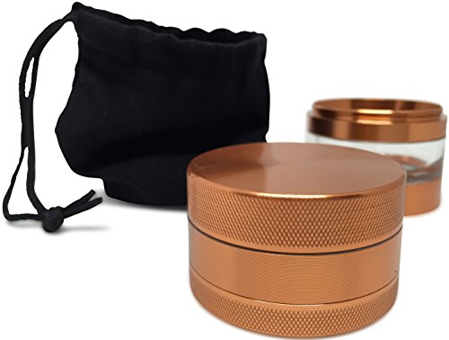 Herb Grinder with Pollen Catcher - Large 2.5'' 5 Piece Set - Best for Weed/Tobacco/Spice - Includes REMOVABLE Stainless Steel Screen/Kief Scraper/Travel Bag - 9to5 Grinders (Copper/Rose Gold) by 9to5 Grinders (Image #4)