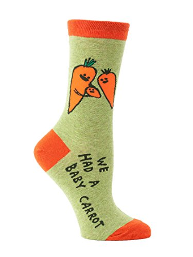 Blue Q Women's Novelty Crew Socks - Baby Carrot with a sock ring,One Size (Carrot Ring 1)